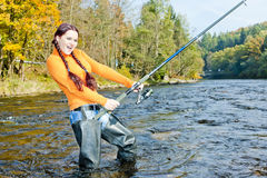 Fishing woman Royalty Free Stock Image