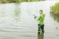 Fishing woman Royalty Free Stock Photos