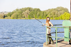 Fishing woman Royalty Free Stock Photos