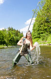 Fishing woman Royalty Free Stock Photography