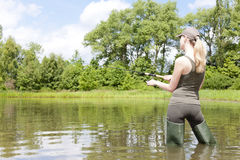 Fishing woman Stock Image
