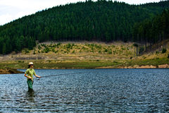 Fishing for woman Stock Image