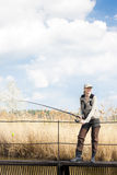 Fishing woman Stock Photo