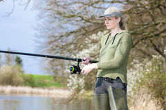 Fishing woman Royalty Free Stock Photo