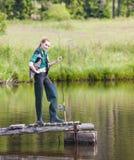 Fishing woman Stock Image