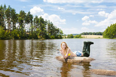 Fishing woman Royalty Free Stock Images