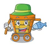 Fishing wooden trolley mascot cartoon. Vector illustration royalty free illustration