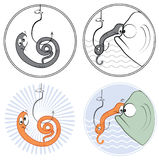 Fishing worm and fish Stock Photos
