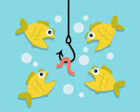Fishing, worm and fish. Underwater hanging hook, hanging on a hook worm. Four fish looking at a worm and want to eat it Royalty Free Stock Photography