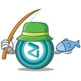 Fishing Zilliqa coin mascot cartoon. Fishing Zilliqa coin macot cartoon vector illustration Royalty Free Stock Photography