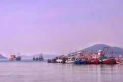 Fishingboat. Boat sea sky  port mountain island fishingport thailand sattahip Royalty Free Stock Photo