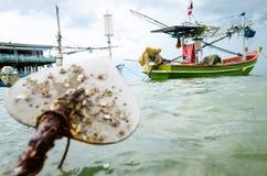 Fishingboat e ancora Fotografia Stock