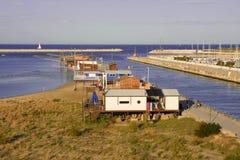 Fishinghouse on Pescara Royalty Free Stock Images