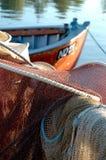 Fishingnet danés y barco Imagen de archivo libre de regalías