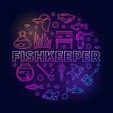 Fishkeeper传染媒介上色了围绕在概述样式的例证 库存图片