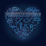Fishkeeping vector blue concept illustration in heart shape. Made of aquarium equipment and fish outline icons on dark background Stock Photos