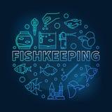 Fishkeeping vector blue round illustration on dark background. Fishkeeping vector blue round concept illustration made of aquarium equipment and fish linear Stock Photos