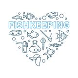Fishkeeping vector minimal concept illustration in heart shape. Made of aquarium equipment and fish outline icons Royalty Free Stock Images