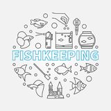 Fishkeeping vector round illustration made of linear icons. Fishkeeping vector round concept illustration made of aquarium equipment and fish linear icons Stock Image