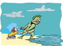 Fishman улавливая девушку Стоковое Фото