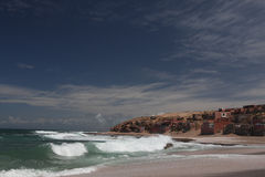Fishman Dorf auf Atlantik in Marocco stockbild