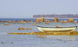 Fishmanboot bij het zandeiland Royalty-vrije Stock Foto