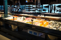 Fishmarket in Kauppahalli, Tampere Finland. Wanha Kauppahalli- Central market in Tampere where you can buy meat, vegetables, fruits, fish, spices, milk and dairy Royalty Free Stock Photography