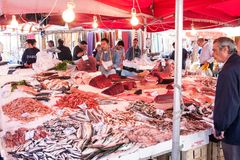 Fishmarket van Catanië, Sicilië, Italië Stock Afbeeldingen