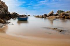 A moving basket boat on the calm sea, Ke Ga cape, Binh Thuan provice, Vietnam royalty free stock photos