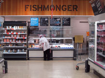 Fish department in a supermarket. Royalty Free Stock Photos