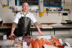 Fishmonger in grembiule Immagini Stock Libere da Diritti