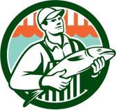 Fishmonger Holding Fish Circle Retro Stock Photos
