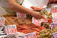 Fishmonger at Mercado de Maravillas, Madrid Royalty Free Stock Photo