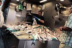 Fishmonger przy indoors targowym Zdjęcia Stock