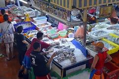 Fishmonger stall at Banzaan Market in Patong. Banzaan Market is a covered market in Patong, Phuket, Thailand Royalty Free Stock Photo