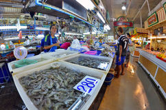 Fishmonger stall at Banzaan Market in Patong. Banzaan Market is a covered market in Patong, Phuket, Thailand stock photos