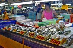 Fishmonger stall at Banzaan Market in Patong. Banzaan Market is a covered market in Patong, Phuket, Thailand Stock Photo