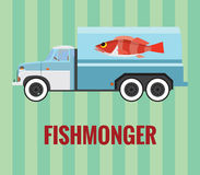 Fishmonger truck - vector drawing Royalty Free Stock Photo