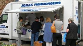 Fishmongers/Fishmarket. Mobil fishmarket at market day in Totnes UK Royalty Free Stock Photos