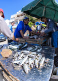 Fishmongers in  Taghazout surf village,agadir,morocco. Fisherman selling their catch in Taghazout surf and fishing village,agadir,morocco Royalty Free Stock Photos