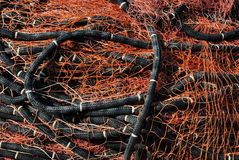 Fishnet auf dem Ufer Lizenzfreies Stockbild