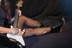 Fishnet stockings legs punk girl rock'n'roll Royalty Free Stock Photo