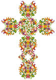 Fishnet style floral cross of Jesus Royalty Free Stock Photo