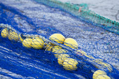 Fishnet trawl rope putdoor in summer at harbour Stock Images