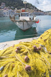 Fishnets on fish boat Stock Image