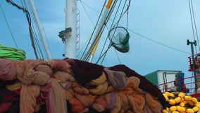 Fishnets in Fishing Boat. Video stock footage