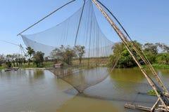Fishnets w dopływ rzece Tonle Aprosza jezioro Obraz Stock