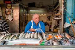 Fishnonger stall at market, Jerusalem Stock Photo