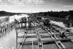 Fishpens a Hinigaran, occidentale di Negros lungo il ponte in bla Immagine Stock Libera da Diritti