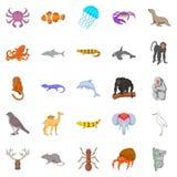 Fishs icons set, cartoon style. Fishs icons set. Cartoon set of 25 fishs vector icons for web isolated on white background Stock Photo